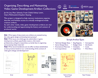 Poster: Organizing, Describing, and Maintaining Video Game Development Artifact Collections