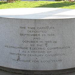 The time capsule monument in Queens, New York.