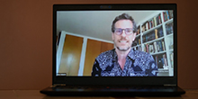 Brian Selznick on laptop screen