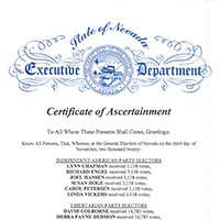 An example of a Certificate of Ascertainment for the Electoral College