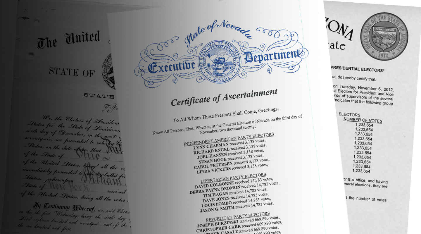 Examples of Certificates of Ascertainment for the Electoral College