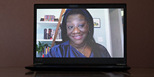 Tressie McMillan Cottom on a laptop screen