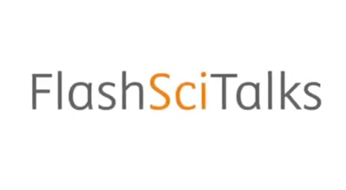 FlashSciTalks logo in a still image from the video