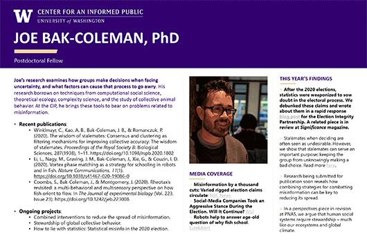 Joe Bak-Coleman Research Profile poster