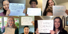 """A collage of 6 students holding """"thank you"""" signs."""