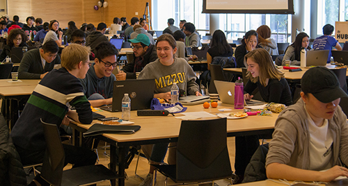 Students work during the Winfo Hackathon.