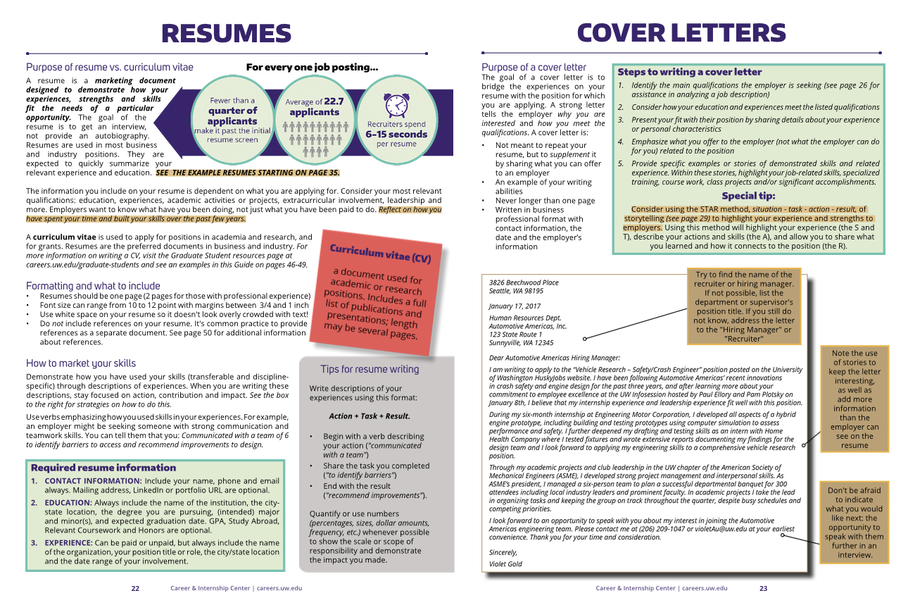 Resumes Cover Letters Information School University Of Washington