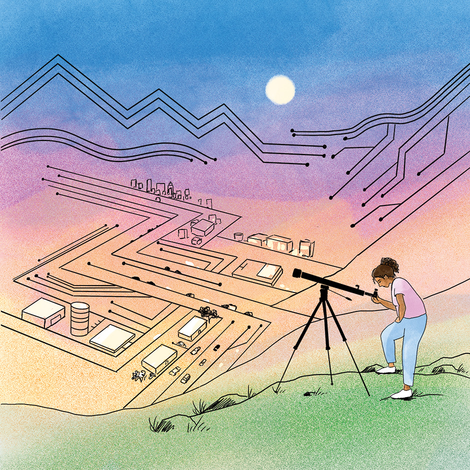 Illustration of a woman looking through a telescope above a city grid that resembles a circuit board.
