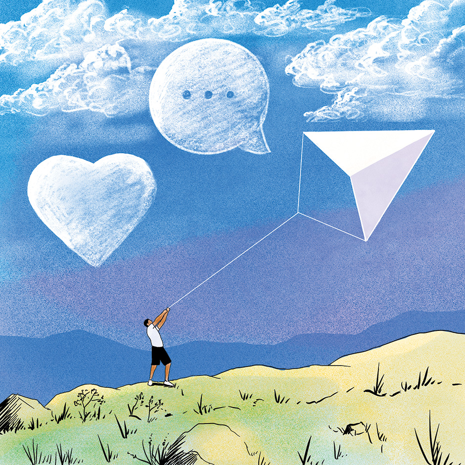 Illustration of a man holding a kite shaped as a messaging icon, with other technology icons as clouds in the sky.