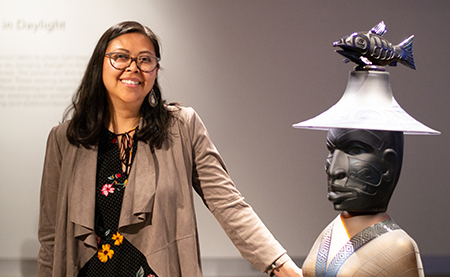 "Miranda Belarde-Lewis curated the ""Raven and the Box of Daylight"" exhibit of works by glass artist Preston Singletary, displayed at the Tacoma Museum of Glass in late 2019."