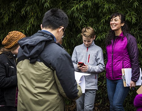 Saba Kawas and other research assistants conduct a field test of the app with University Prep students.
