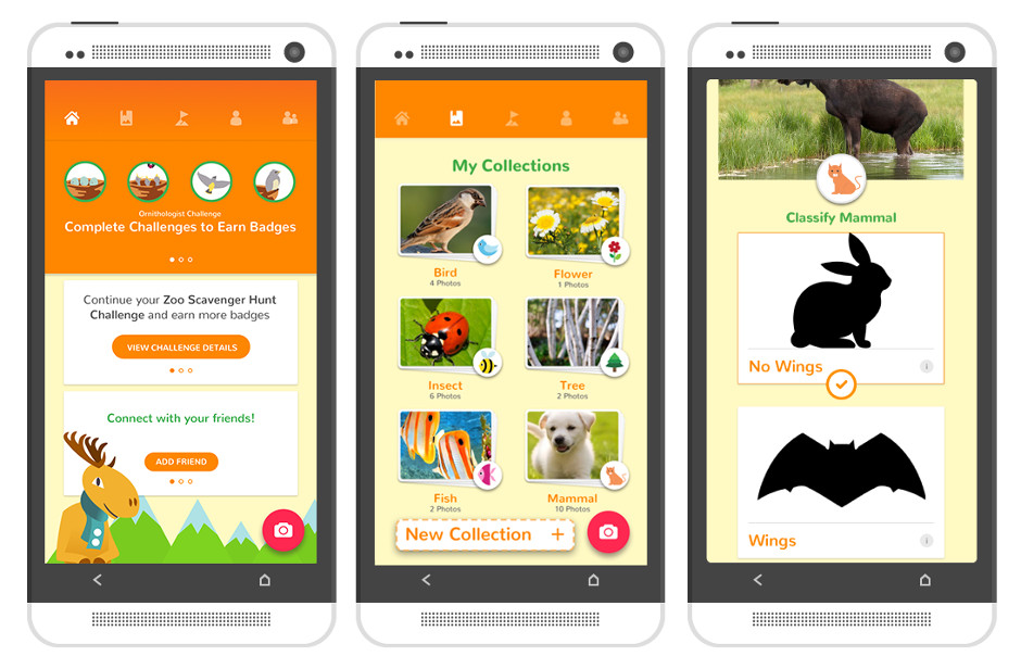 Screens on the NatureCollections app.