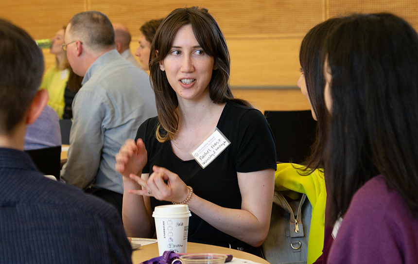 iSchool Ph.D. student Rachel Franz speaks with attendees at iAffiliates Day 2019.