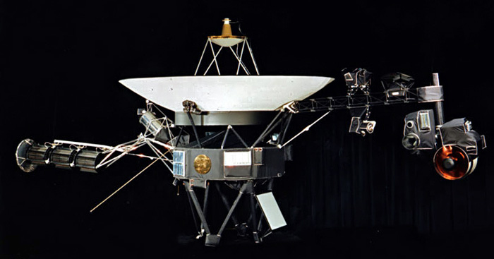 The Golden Record is mounted on the Voyager I spacecraft