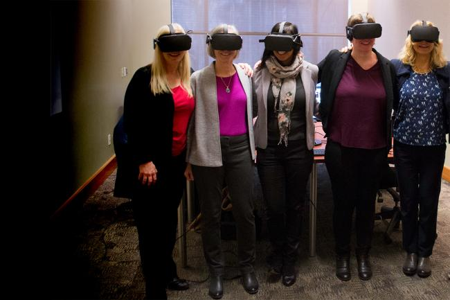 Signing ceremony for VR headset study.
