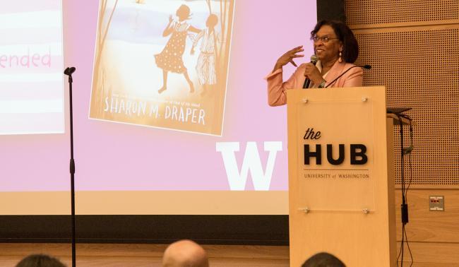 Sharon Draper speaks at the HUB