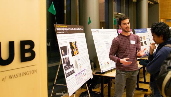 Luke Rodriguez explains a research project.