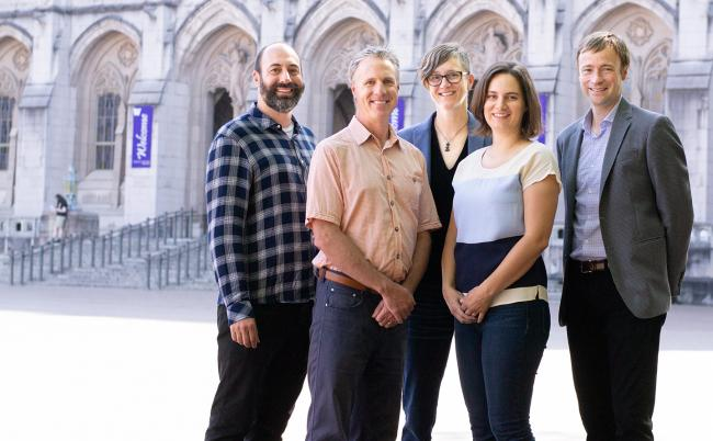 Researchers (from left) Ryan Calo, Chris Coward, Kate Starbird, Emma Spiro and Jevin West