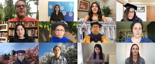 Screen shots of participants in Convocation