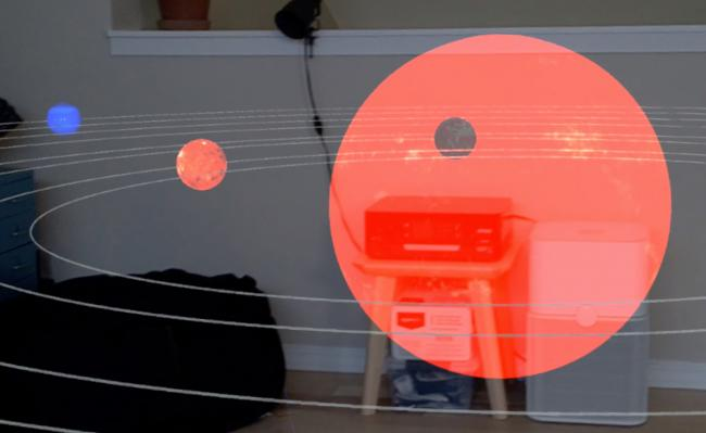 An image from the interactive game viewed through the player's headset.