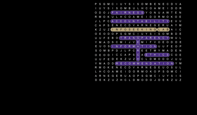 "Word search graphic with ""InfoSeeking Lab"" highlighted"