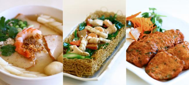 Three examples of food offered in Chinatown.
