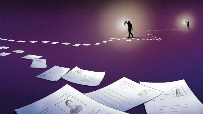 Illustration of people searching on a paper trail